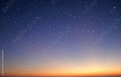 starry in the night sky with sunrise