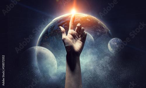 Stampa su Tela Idea of Earth creation    . Mixed media