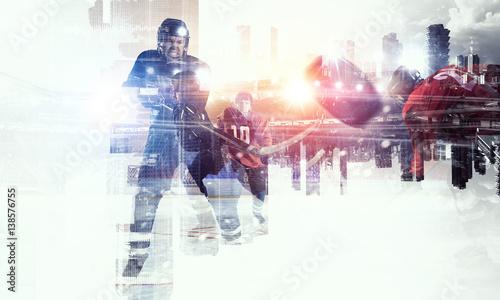 Photo Hockey players on ice    . Mixed media