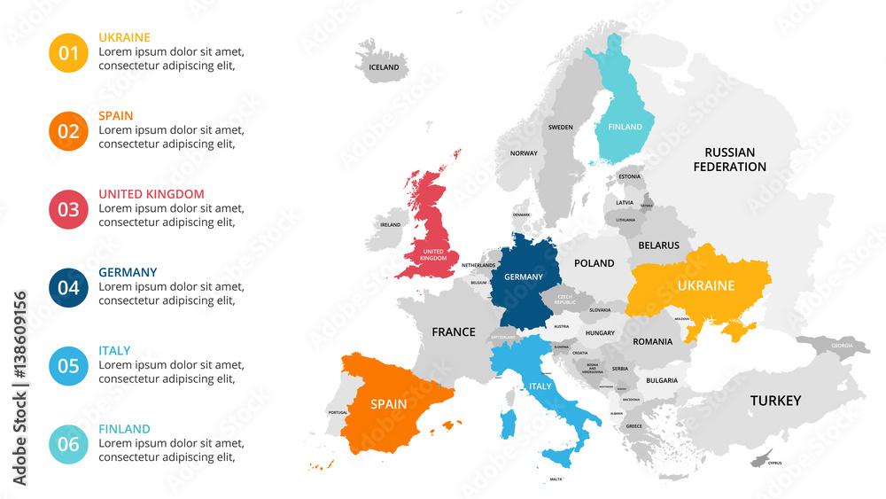 Mapa Europy infografika. Prezentacja slajdów. Koncepcja marketingu globalnego biznesu. Kolor kraju. Światowe dane transportowe. Szablon statystyki gospodarczej. <span>plik: #138609156   autor: theseamuss</span>