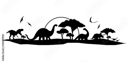 handmade dinosaur landscape vector design Fototapete
