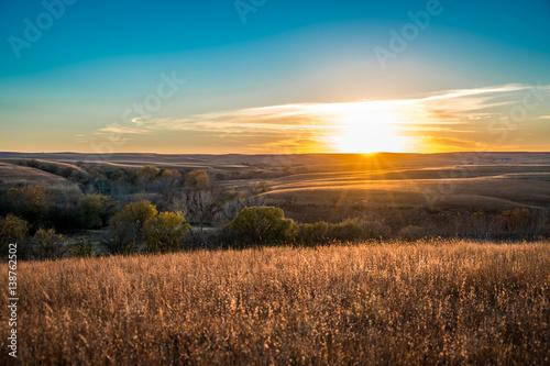 Obraz na plátně Sunset in the Flint Hills Kansas