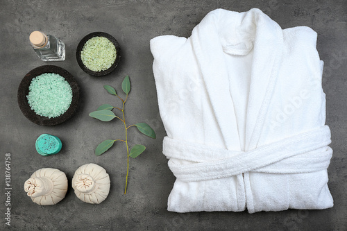 Wallpaper Mural Beautiful spa composition with bathrobe and accessories