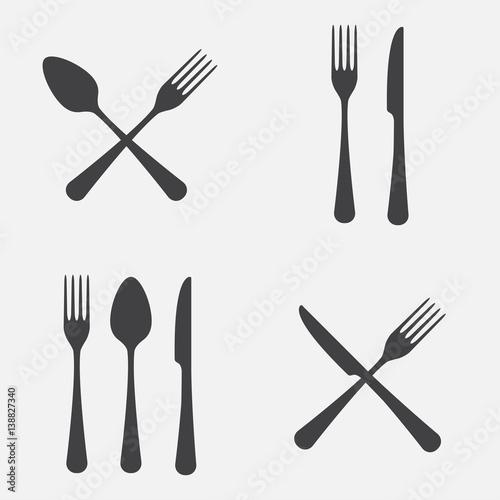 Obraz na plátně Spoon, fork and knife icon set