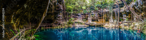 Photo Panorama of the blue X'Canche Cenote close to Ek Balam near Valladolid, Yucatan peninsula, Mexico