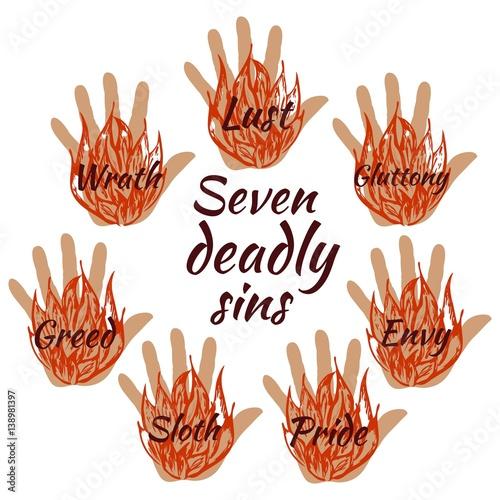 Fototapeta Seven deadly sins. Vector illustration