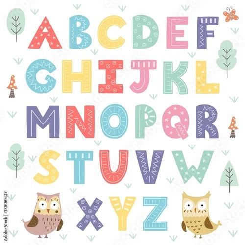 Fotografia Funny forest alphabet for kids