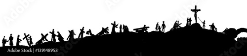 Foto Way of the cross or stations of the cross silhouettes of Jesus Christ carrying his cross on Calvary hill