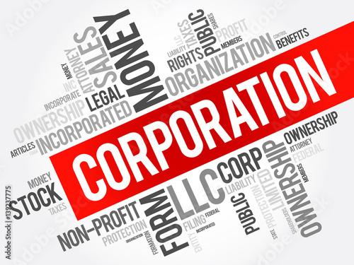 Canvas Print Corporation word cloud collage, business concept background