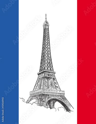 Flaga z wieżą Eiffla