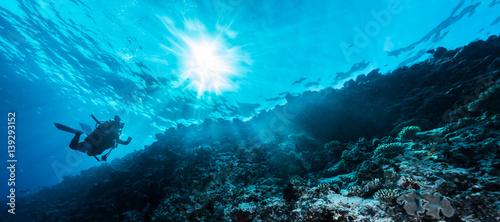 Photo Rays of sunlight shining into sea, underwater view