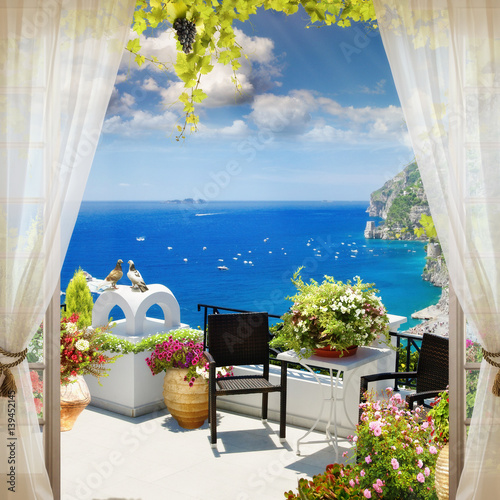 Fototapeta premium Cyfrowy fresk. Widok z okna na morze.