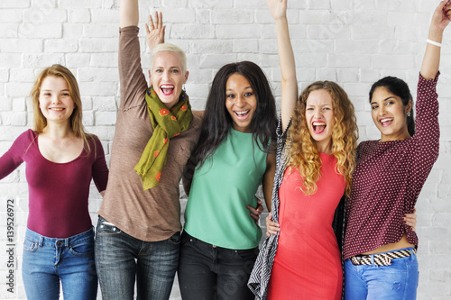 Valokuvatapetti Group of Women Happiness Cheerful Concept