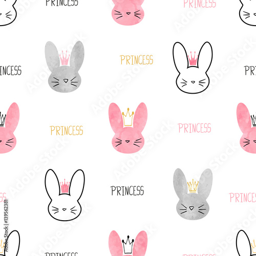 Seamless princess bunny pattern. Vector background with cute rabbits for girls design.