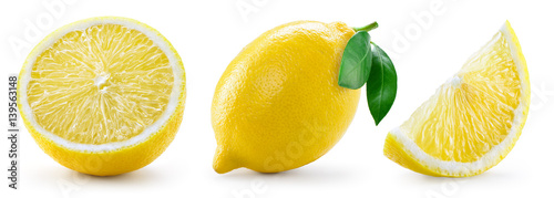 Fotografie, Obraz Lemon with leaf isolated on white background. Collection
