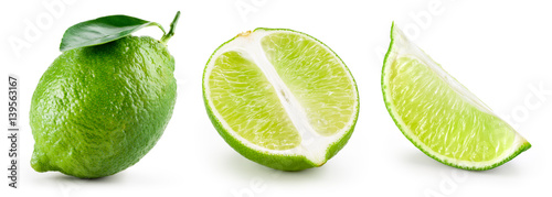 Lime with leaf isolated on white background. Collection
