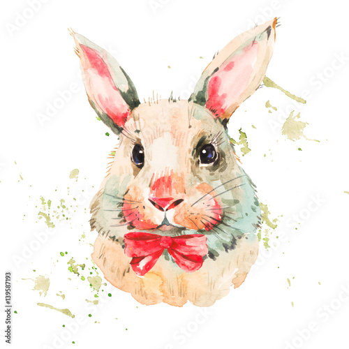 Cute watercolor white rabbit with red bow