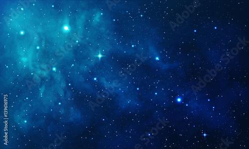 Fototapeta premium Piękna przestrzeń z niebieską mgławicą, realistyczny wektor - EPS 10