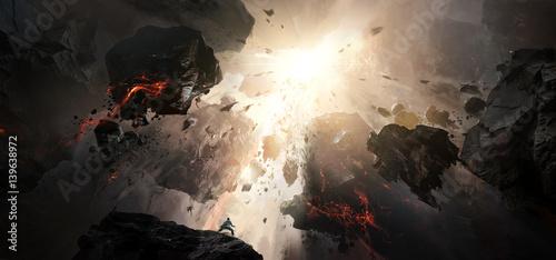 Photo World collapse, doomsday scene, digital painting.