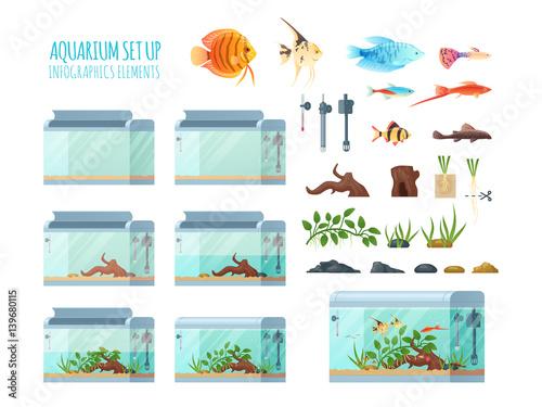 Infographics aquarium set. Fototapeta