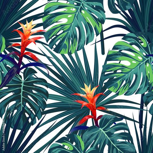 Fototapeta Egzotyczne tropikalne rośliny i kwiaty akwarela na białym tle XL