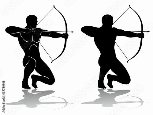 Fototapeta archer silhouette, vector drawing