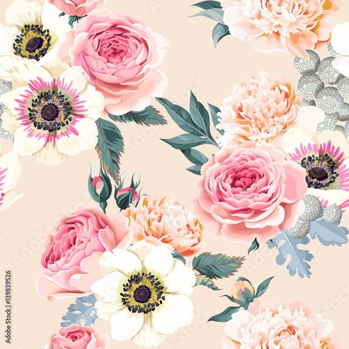 Canvas Print Seamless wedding flowers