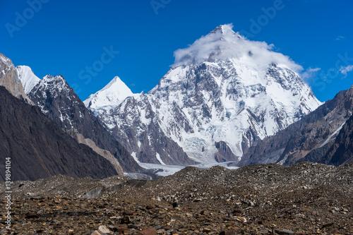 K2 mountain peak with cloud on top, Baltoro glacier, Gilgit, Pakistan
