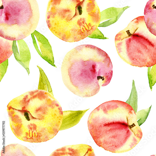 Seamless watercolor of peaches. The fruits, branches and leaves. Suitable for design food packaging, soap, cosmetics, fashion fabrics, scrapbooking, wrapping paper, wallpaper, home textiles