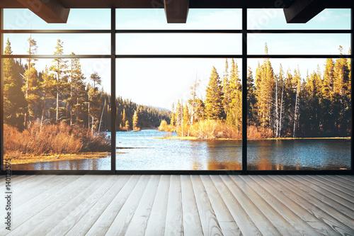 Loft interior with landscape view