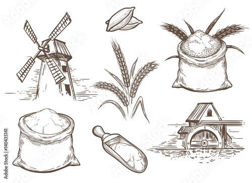 Valokuva Hand drawn vector illustration with ears of wheat and flour sacks