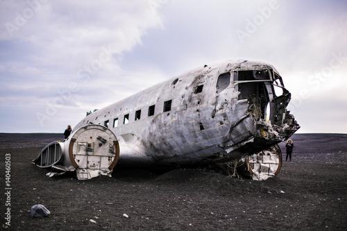 фотография Airplane wreckage on black sand beach. Iceland