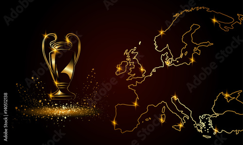 Fotografia Champions Cup with a linear map. Golden Soccer trophy.