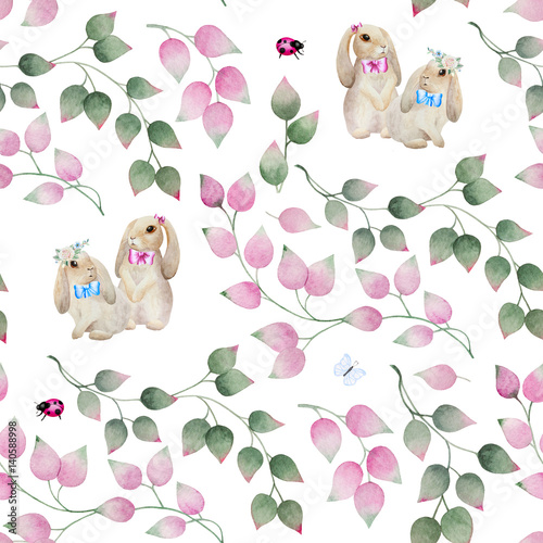 Seamless background with vintage rabbits