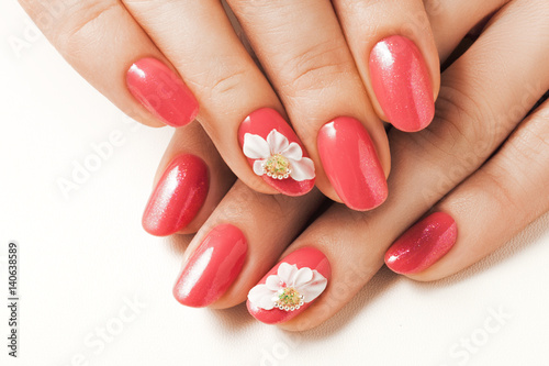 Wallpaper Mural Red nails and floral deign.