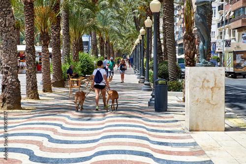 Valokuva Alicante, Spain - June 30, 2016: The promenade Explanada of Spain in Alicante is paved with 6