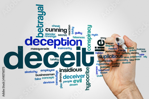 Photo Deceit word cloud concept on grey background