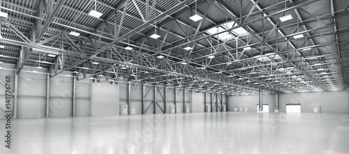 Fotografia Empty warehouse. 3d illustration