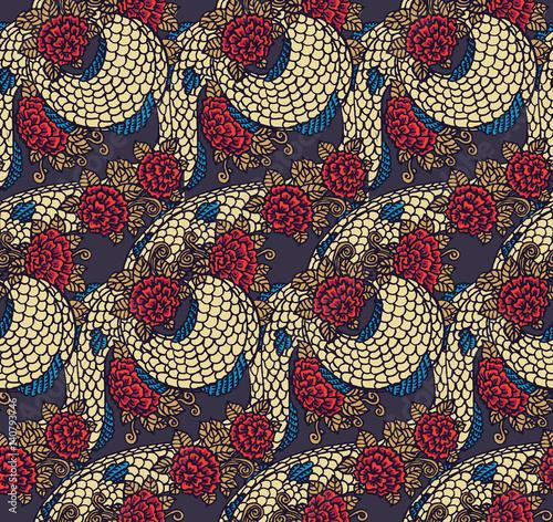 Seamless chinese dragon texture Fototapeta