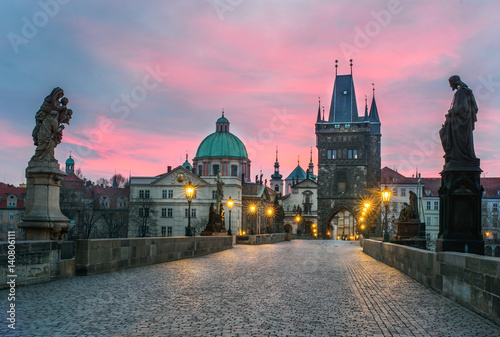 Tela Sunset at Charlze bridge in Prague