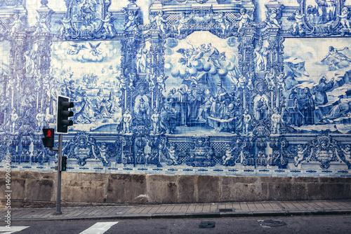 Fototapeta Characteristic tilework called Azulejo on Capela das Almas church in Porto, Port