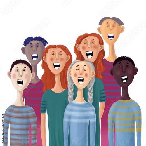 Obraz na płótnie drawn singing people