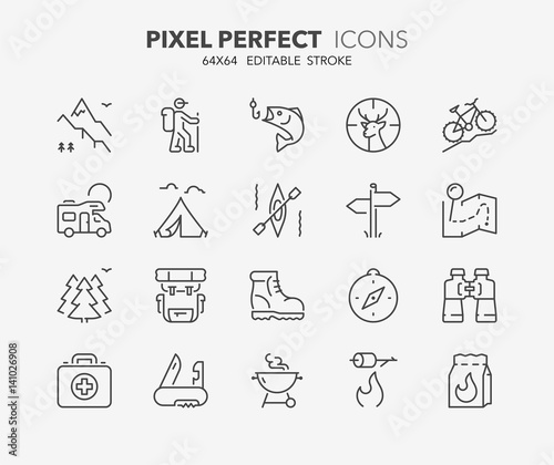 Stampa su Tela outdoor and camping thin line icons 1
