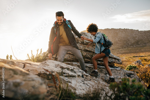 Young couple hiking in nature