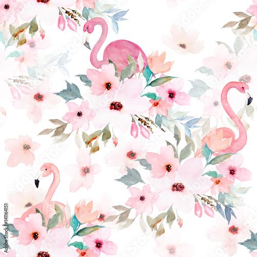 Akwarela bezszwowe wzór. Kwiatowy nadruk z flamingo