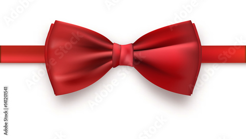 Fotografie, Tablou Realistic red bow tie, vector illustration, isolated on white background