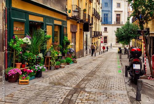 Old street with flowers in Madrid. Spain Fototapeta