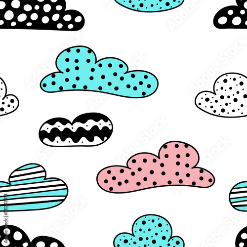 Soft clouds seamless background. Dotted, striped and wavy childish application cloud pattern for card, wallpaper, album, scrapbook, holiday wrapping paper, textile fabric, garment, t-shirt design etc.