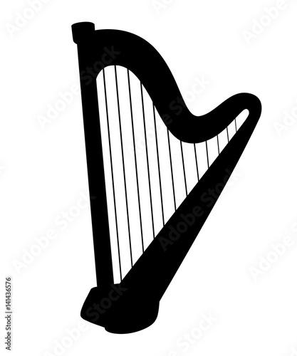 Photo Harp icon set for interiors Flat design style vector illustration