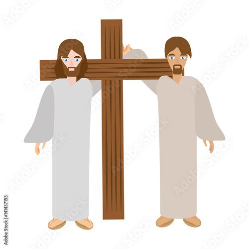 Fotografia simon help jesus carry cross- via crucis vector illustration eps 10